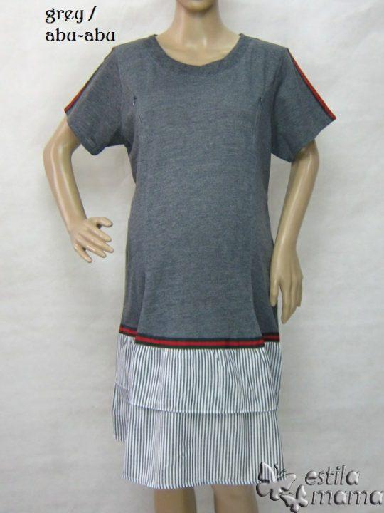 R34269 gb6 dress hamil menyusui lgn pdk abu-abu