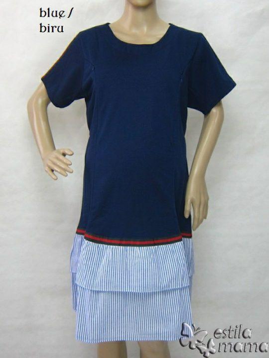 R34269 gb7 dress hamil menyusui lgn pdk biru