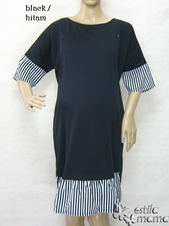 R34270 gb1 dress hamil menyusui lgn pdk hitam