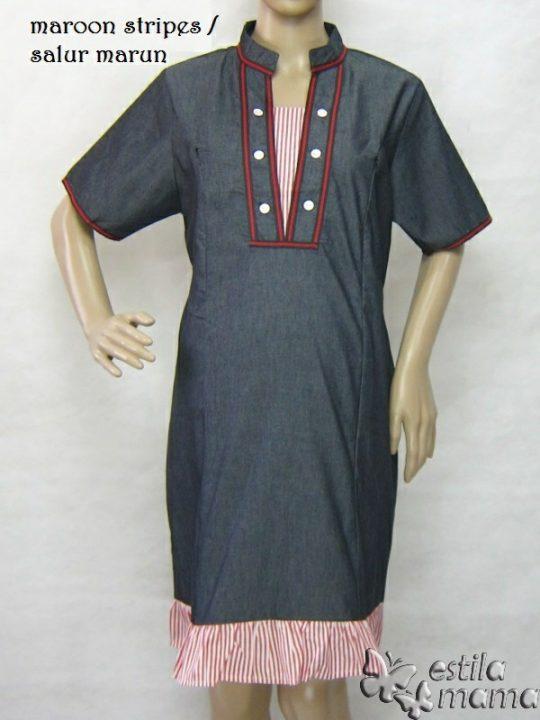 R34271 gb1 dress hamil menyusui lgn pdk salur marun