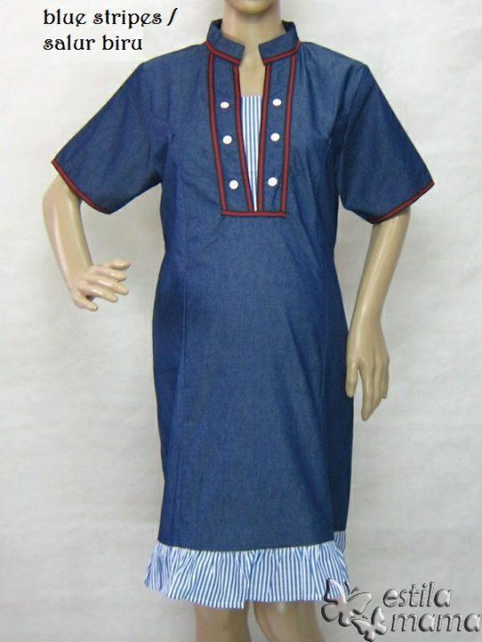 R34271 gb6 dress hamil menyusui lgn pdk salur biru