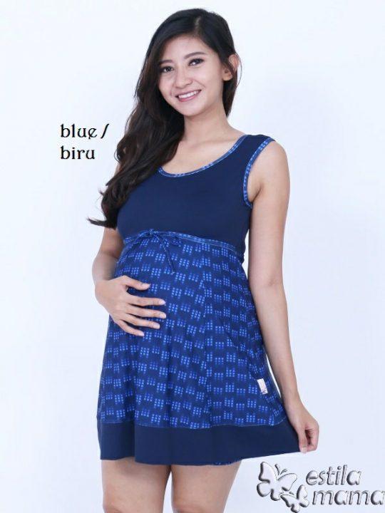 M0251 biru kotak-kotak gb1 baju renang hamil