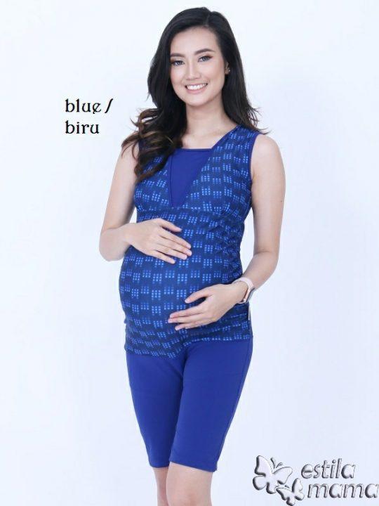 M0253 biru kotak-kotak gb1 baju renang hamil