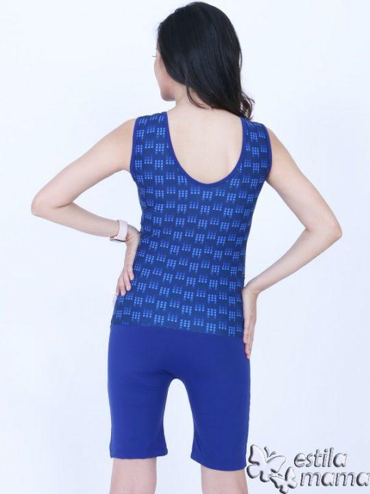 M0253 biru kotak-kotak gb3 baju renang hamil