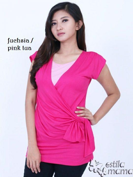 R1304 gb1 baju hamil menyusui lgn pdk pink tua