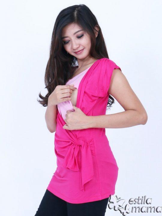 R1304 gb2 baju hamil menyusui lgn pdk pink tua