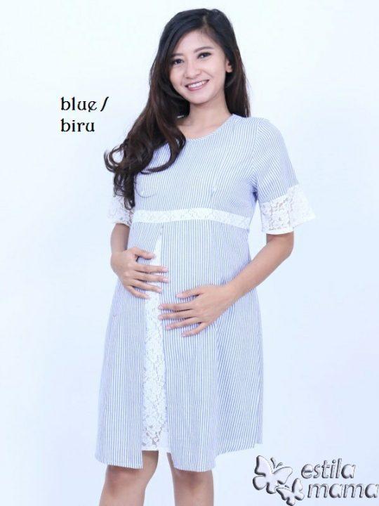 R34259 gb1 dress hamil menyusui lgn pdk biru