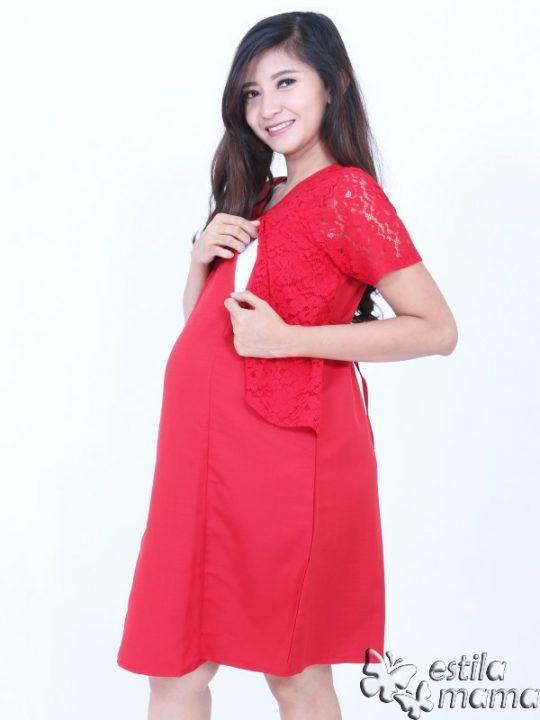 R34261 gb2 dress hamil menyusui lgn pdk merah