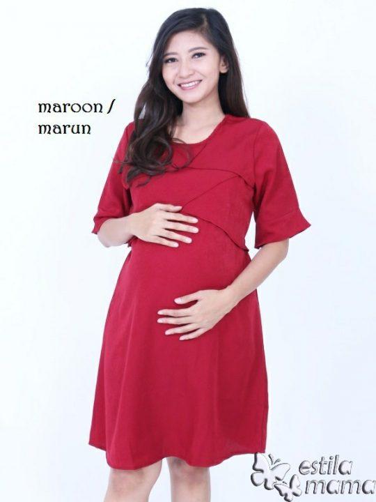 R34262 gb1 dress hamil menyusui lgn pdk marun