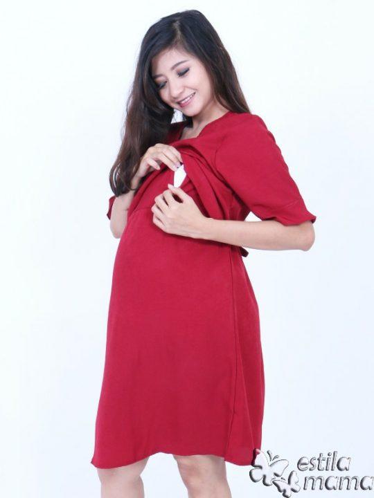 R34262 gb2 dress hamil menyusui lgn pdk marun