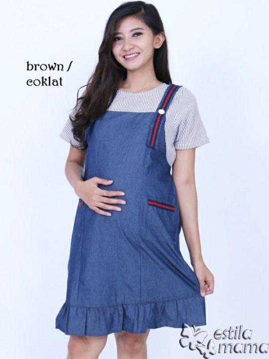 R34268 gb1 dress hamil menyusui lgn pdk coklat