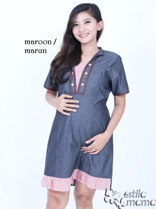 R34271 gb1 dress hamil menyusui lgn pdk marun