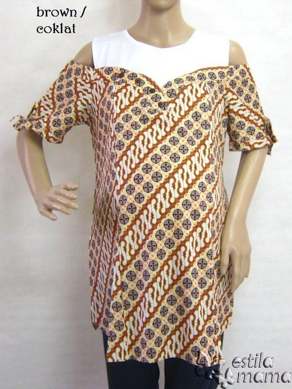 Basyila Baju Hamil Menyusui Pendek Kerja Formal Katun Batik Cut Out Shoulder
